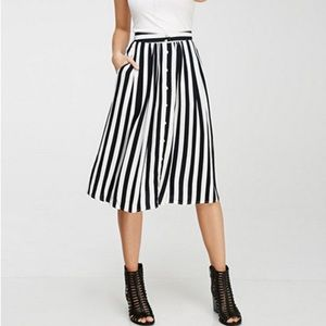 Large Black and White Striped Midi Skirt